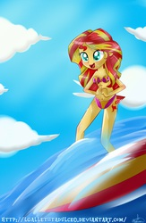 Size: 3000x4598 | Tagged: safe, artist:vixelzf, sunset shimmer, equestria girls, belly button, bikini, clothes, female, solo, surfboard, surfing, swimsuit