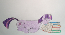 Size: 1692x912 | Tagged: artist:epicalaxy master, book, drawing, drool, pony, safe, sleeping, solo, traditional art, twilight sparkle, unicorn