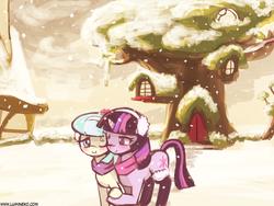 Size: 960x720 | Tagged: safe, artist:lumineko, coco pommel, twilight sparkle, alicorn, pony, clothes, cocosparkle, earmuffs, female, jacket, lesbian, mare, shipping, snow, snowfall, twilight sparkle (alicorn), winter