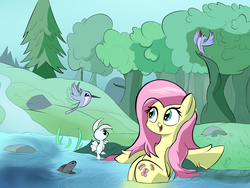 Size: 4000x3000 | Tagged: safe, artist:wadusher0, angel bunny, fluttershy, bird, fish, hummingbird, pegasus, pony, rabbit, animal, cute, female, fluffy, forest, frown, hoof fluff, mare, nature, open mouth, outdoors, river, scenery, shyabetes, sitting, smiling, solo, spread wings, tree, unshorn fetlocks, water, wide eyes, wing fluff, wings