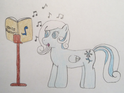 Size: 1344x1008 | Tagged: artist:epicalaxy master, blind, blind joke, book, christmas, drawing, hearth's warming, music notes, oc, oc only, oc:snowdrop, safe, singing, solo, traditional art, we are going to hell