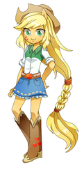 Size: 287x595 | Tagged: safe, artist:hotaruishi, applejack, equestria girls, alternative cutie mark placement, boots, clothes, cowboy boots, cowboy hat, denim skirt, facial cutie mark, female, freckles, hat, high heel boots, looking at you, pixiv, ponied up, shoes, simple background, skirt, solo, stetson, white background