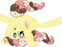 Size: 6792x5178 | Tagged: absurd res, artist:benybing, earth pony, food pony, frontbend, happy, ice cream, oc, oc only, original species, safe, simple background, soft serve, solo, sprinkles, transparent background, vector