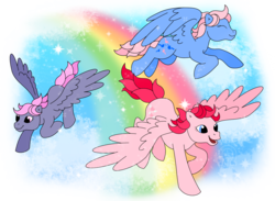 Size: 2560x1879   Tagged: safe, artist:anscathmarcach, heart throb, so soft twilight, twilight, wind whistler, pegasus, pony, g1, eyes closed, female, flying, mare, rainbow, spread wings, trio, wings
