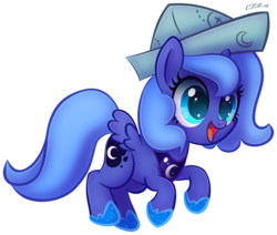 Size: 808x685   Tagged: safe, artist:ctb-36, princess luna, moonstuck, cartographer's cap, cute, female, filly, hat, lunabetes, open mouth, simple background, solo, transparent background, woona