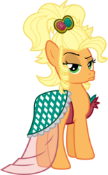 Size: 899x1448 | Tagged: safe, artist:jeatz-axl, applejack, simple ways, alternate hairstyle, applejewel, clothes, dress, duckface, female, looking back, simple background, solo, svg, transparent background, vector