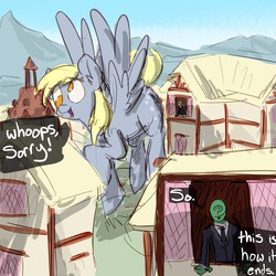 Size: 1280x1282 | Tagged: safe, artist:nobody, derpy hooves, oc, oc:anon, human, pegasus, pony, comic, giant derpy hooves, giant pegasus, giant pony, giantess, hilarious in hindsight, macro, size difference, xk-class end-of-the-world scenario