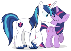Size: 1035x750 | Tagged: safe, artist:dm29, shining armor, twilight sparkle, alicorn, pony, brother and sister, duo, female, heart, kiss on the cheek, kissing, mare, not incest, not shipping, platonic, platonic kiss, simple background, smiling, transparent background, twilight sparkle (alicorn)