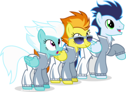 Size: 3856x2820   Tagged: safe, artist:vector-brony, fleetfoot, soarin', spitfire, rainbow falls, simple background, sunglasses, transparent background, vector, warmup suit