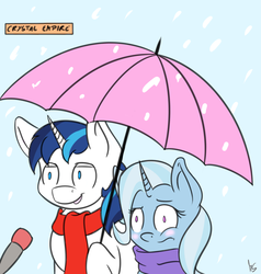 Size: 1483x1561   Tagged: safe, artist:moonshine, shining armor, trixie, adultery, clothes, female, infidelity, interview, male, scarf, shintrix, shipping, snow, snowfall, special feeling, straight, umbrella