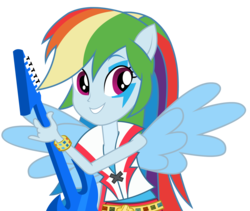 Size: 2361x1994 | Tagged: artist:negasun, equestria girls, guitar, ponied up, rainbow dash, rainbow rocks, rainbow thrash, safe, simple background, solo, transparent background, vector