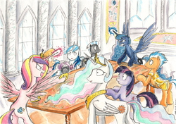 Size: 2312x1627 | Tagged: safe, artist:souleatersaku90, flash sentry, ms. harshwhinny, princess cadance, princess celestia, princess luna, shining armor, thunderlane, twilight sparkle, angry, canterlot castle, commission, magic, table, the simple life, traditional art, watercolor painting