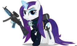 Size: 5000x3000 | Tagged: artist:a4r91n, clothes, gun, magic, mp5, navy seal, one-piece swimsuit, rarity, safe, scuba, simple background, solo, submachinegun, swimsuit, transparent background, vector, wet, wet mane, wet mane rarity, wetsuit