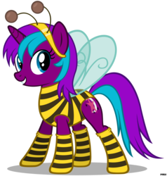 Size: 3800x4000 | Tagged: animal costume, artist:a4r91n, bee, bee costume, clothes, costume, female, mare, oc, oc only, oc:starnight, pony, safe, simple background, socks, solo, striped socks, suit, transparent background, unicorn, vector