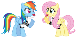 Size: 1024x498 | Tagged: safe, artist:masem, fluttershy, rainbow dash, blowing, blowing whistle, puffy cheeks, rainblow dash, rainbow dashs coaching whistle, referee, referee rainbow dash, simple background, transparent background, whistle, whistle necklace