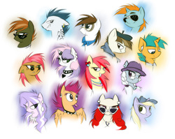 Size: 2500x1990   Tagged: safe, artist:kejifox, apple bloom, babs seed, button mash, diamond tiara, dinky hooves, featherweight, pipsqueak, rumble, scootaloo, silver spoon, snails, snips, sweetie belle, twist, earth pony, pegasus, pony, unicorn, adult, choker, colored, cutie mark crusaders, ear piercing, earbuds, earring, glasses, hat, horn ring, jewelry, metal belle, older, older apple bloom, older babs seed, older button mash, older diamond tiara, older dinky hooves, older featherweight, older pipsqueak, older rumble, older scootaloo, older silver spoon, older snails, older snips, older sweetie belle, older twist, piercing, simple background, spiked choker, sunglasses, tongue out, tongue piercing, white background