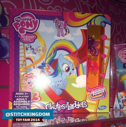 Size: 605x609   Tagged: safe, fluttershy, pinkie pie, rainbow dash, rarity, twilight sparkle, alicorn, pony, board game, chutes and ladders, colored wings, female, irl, mare, multicolored wings, photo, rainbow power, rainbow wings, toy, toy fair 2014, twilight sparkle (alicorn)