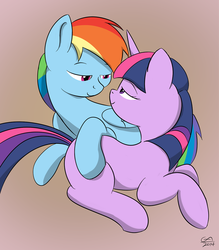 Size: 1000x1143 | Tagged: artist:gamesadict, female, hearts and hooves day, lesbian, rainbow dash, safe, shipping, twidash, twilight sparkle