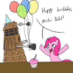 Size: 700x700 | Tagged: artist needed, safe, pinkie pie, balloon, candle, crossover, cupcake, dalek, doctor who, happy birthday, hat, naive, party hat, this will end in extermination, this will end in tears and/or death