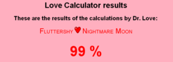Size: 784x282 | Tagged: female, fluttermoon, fluttershy, lesbian, love calculator, new otp, nightmare moon, safe, shipping