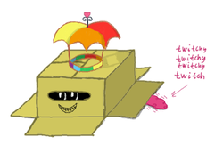 Size: 454x313 | Tagged: artist:synch-anon, box, hat, pinkie pie, safe, solo, twitchy tail, umbrella hat