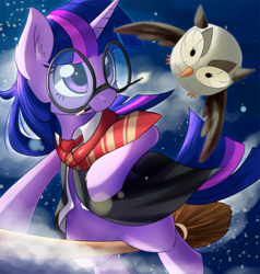 Size: 600x630   Tagged: safe, artist:aymint, owlowiscious, twilight sparkle, broom, ear fluff, flying, flying broomstick, glasses, harry potter, mouth hold, necktie, parody, wand
