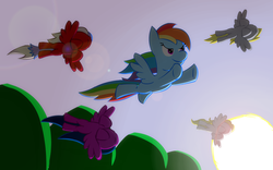 Size: 1920x1200 | Tagged: safe, artist:redenchilada, derpy hooves, firefly, rainbow dash, surprise, oc, pegasus, pony, female, flying, lens flare, mare, sky, spread wings, sun, underhoof, wings