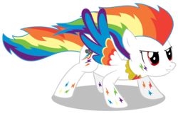 Size: 1200x789   Tagged: safe, artist:neriani, rainbow dash, colored wings, element of loyalty, elements of harmony, multicolored wings, rainbow power, rainbow power-ified, rainbow wings, solo, super rainbow dash