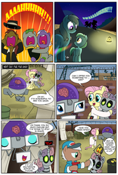 Size: 1482x2200 | Tagged: safe, artist:madmax, fluttershy, rainbow dash, rarity, earth pony, pony, robot, unicorn, fallout equestria, fallout equestria: the ghost of the wastes, alternate hairstyle, collar, comic, female, fence, filly, foal, glasses, hooves, horn, hug, mare, open mouth, screaming, slavery, sweetie bot, tent