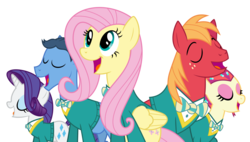 Size: 10546x6000 | Tagged: safe, artist:masem, big macintosh, fluttershy, rarity, toe-tapper, torch song, earth pony, pony, filli vanilli, .svg available, absurd resolution, bottomless, clothes, male, partial nudity, ponytones, ponytones outfit, simple background, stallion, sweater, sweatershy, transparent background, vector