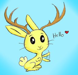 Size: 966x929 | Tagged: safe, artist:neko-delia, jackalope, rabbit, filli vanilli, solo