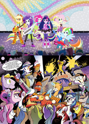 Size: 421x586 | Tagged: 8-bit (character), applejack, background human, buck withers, comparison, diamond rose, equestria girls, female, fluttershy, gaffer, gizmo, humane five, idw, lemony gem, male, oingo boingo, paisley, pinkie pie, ponied up, princess cadance, rainbow dash, rainbow rocks, rarity, safe, sandalwood, shake your tail, spoiler:comic, sweetcream scoops, the rainbooms, thunderbass, twilight sparkle, velvet sky