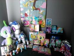 Size: 2592x1944 | Tagged: safe, applejack, discord, dj pon-3, fluttershy, lyra heartstrings, pinkie pie, princess celestia, princess luna, rainbow dash, rarity, spike, twilight sparkle, vinyl scratch, blind bag, card, collection, funrise, irl, lunchbox, mane six, photo, plushie, poster, spike plushie, sticker, toy, wonderbolts