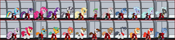 Size: 1200x276 | Tagged: safe, artist:shegomaniac, apple bloom, applejack, archer (character), babs seed, blues, button mash, cloudchaser, featherweight, flitter, fluttershy, noteworthy, nurse redheart, pinkie pie, pipsqueak, rainbow dash, rarity, rumble, scootablue, snails, snips, spike, sweetie belle, tag-a-long, thunderlane, twilight sparkle, twist, zecora, zebra, clothes, desktop ponies, hallway, mane six, pixel art, red shirt, spaceship, star trek, uniform, uss enterprise