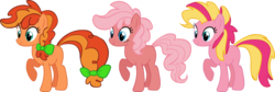 Size: 2126x711 | Tagged: safe, artist:colossalstinker, oc, oc only, earth pony, pony, adoptable, bow, magical lesbian spawn, offspring, parent:applejack, parent:pinkie pie, parents:applepie