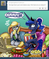 Size: 800x965 | Tagged: :3, american football, artist:johnjoseco, ask gaming princess luna, clothes, comic, derpy hooves, eating, female, food, gamer luna, hot sauce, jersey, looking at you, mare, messy, messy eating, muffin, nom, pegasus, pizza, pony, ponytail, popcorn, potato chips, princess luna, safe, sitting, smiling, soda, super bowl, :t, tumblr, wide eyes