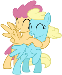 Size: 865x1052 | Tagged: artist:leapingriver, background pony, cute, dizzy twister, duo, duo female, eyes closed, female, grin, happy, hug, hurricane fluttershy, mare, orange swirl, pegasus, pony, raised hoof, safe, sassaflash, simple background, smiling, spread wings, transparent background, vector, windswept mane, wings