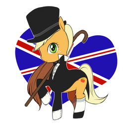 Size: 700x700 | Tagged: applejack, artist:ooue, british, clothes, frock coat, loose hair, pixiv, raised hoof, safe, solo, tuxedo, union jack