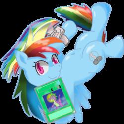 Size: 500x500   Tagged: safe, artist:nezu_nezu, rainbow dash, belly button, card, duel disk, female, pixiv, solo, yu-gi-oh!