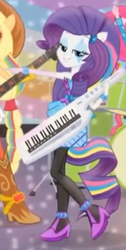 Size: 409x811 | Tagged: bedroom eyes, equestria girls, keytar, musical instrument, ponied up, rainbow rocks, rarity, safe, shake your tail