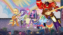Size: 556x309 | Tagged: alicorn, applejack, background human, cherry crash, crossover, edit, edited screencap, equestria girls, fluttershy, mane six, mystery mint, optimus prime, paisley, pinkie pie, ponied up, rainbow dash, rainbow rocks, rarity, safe, sandalwood, screencap, scribble dee, shake your tail, sweet leaf, thunderbass, transformers, twilight sparkle, twilight sparkle (alicorn), velvet sky