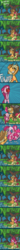 Size: 700x8675   Tagged: safe, artist:fauxsquared, apple bloom, applejack, pinkie pie, too many pinkie pies, apple, bodysuit, clones, comic, cowboy hat, cute, exclamation point, faux is gonna kill us all!!!, fishing, fishing rod, floppy ears, fun, fun fun fun, hat, leaning, mirror pool, multeity, pinkamena diane pie, pinkie clone, ponysuit, sitting, smiling, stetson, too many ponies, tree, wat, water