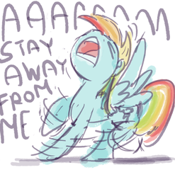 Size: 988x1000   Tagged: artist needed, safe, rainbow dash, d:, drawfag, eyes closed, female, nose in the air, open mouth, panic, scared, screaming, shaking, solo, spread wings, yelling