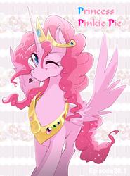 Size: 600x810   Tagged: safe, artist:yukina-namagaki, pinkie pie, alicorn, pony, alicornified, female, heart, jewelry, pink text, pinkiecorn, princess pinkie pie, race swap, regalia, solo, text, wink, xk-class end-of-the-world scenario