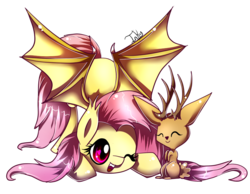 Size: 900x697 | Tagged: safe, artist:inky-pinkie, fluttershy, bat pony, jackalope, pony, cute, eyes closed, female, flutterbat, heart eyes, one eye closed, open mouth, race swap, shyabates, shyabetes, simple background, smiling, spread wings, transparent background, wingding eyes, wings