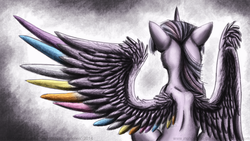 Size: 900x506   Tagged: safe, artist:inuhoshi-to-darkpen, twilight sparkle, alicorn, pony, colored wings, female, mare, multicolored wings, rainbow wings, solo, twilight sparkle (alicorn)