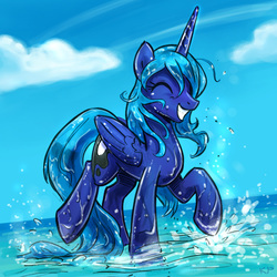 Size: 1600x1600 | Tagged: alicorn, artist:kp-shadowsquirrel, cloud, eyes closed, female, grin, happy, mare, pony, princess luna, raised hoof, raised leg, safe, sky, smiling, solo, splashing, water, wet, wet mane