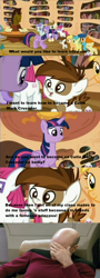 Size: 844x2357   Tagged: safe, alula, aura (character), featherweight, first base, gallop j. fry, little red, liza doolots, mango dash, petunia, pipsqueak, pluto, rainy feather, snails, sunny daze, tootsie flute, twilight sparkle, alicorn, pony, twilight time, facepalm, female, jean-luc picard, mare, screencap comic, star trek, twilight sparkle (alicorn)