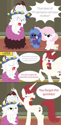 Size: 3400x6900 | Tagged: artist:t-3000, cewestia, comic, cute, filly, ice cream, jimmies, lauren faust, oc, oc:fausticorn, ponified, princess celestia, princess luna, safe, sprinkles, star swirl the bearded, sundae, woona