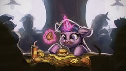 Size: 1920x1080 | Tagged: safe, artist:assasinmonkey, twilight sparkle, alicorn, pony, twilight time, :t, adorkable, burger, cute, dork, drink, eating, female, floppy ears, food, french fries, hay burger, hay fries, magic, mare, messy, messy eating, onion horseshoes, puffy cheeks, scene interpretation, silhouette, smiling, solo focus, table, telekinesis, that pony sure does love burgers, twiabetes, twilight burgkle, twilight slobble, twilight sparkle (alicorn), wallpaper